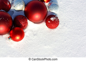 Christmas Bulbs Frame in the Snow - a collection of red...