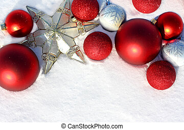 Red Christmas Bulbs and Star in White Snow Border - a...