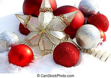 Christmas Ornaments Outside in the Snow - Collection of Red,...