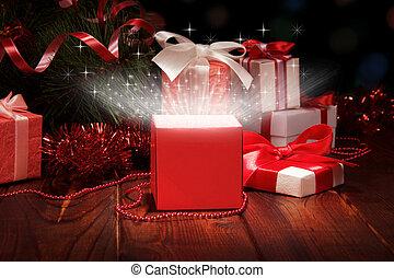 Christmas box and Christmas tinsel - Shining open Christmas...