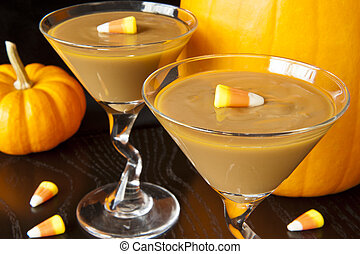 Fall Carmel Pudding - Carmel pudding with candy corns and...
