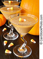 Candy Corn Carmel Pudding - Carmel pudding with candy corns...