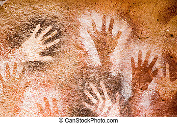 Ancient cave paintings - Ancient cave painting in Patagonia,...