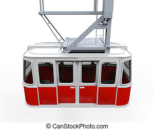 Red Cable Car isolated on white background. 3D render