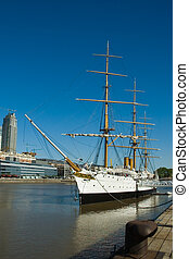 Buenos Aires harbor. - Old frigate. Buenos Aires harbor.