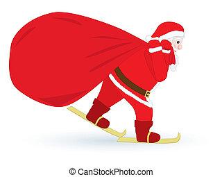 Santa skiing with sack