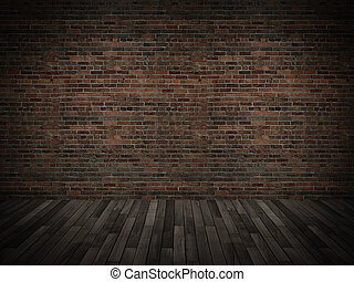 old brick wall with wood floor,3d