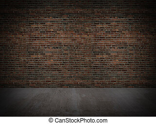 old brick wall with concrete floor