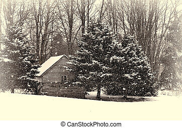 old cabin in winter - Old cabin in snow with sepia tone and...