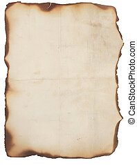 Very Old Paper With Burned Edges - Old, creased and smudged...