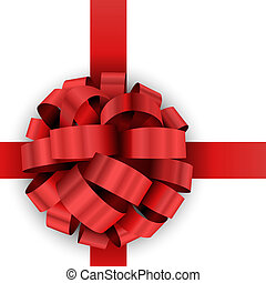 Christmas present red bow vector template isolated on white...