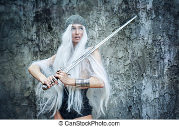 Maiden Warriors - Attractive gray-haired maiden warrior in...