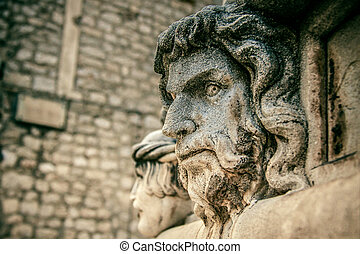 Stone head, detail of the St. James Cathedral, Sibenik
