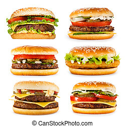 set of various hamburgers isolated on white background