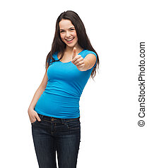 smiling girl in blue t-shirt showing thumbs up - t-shirt...