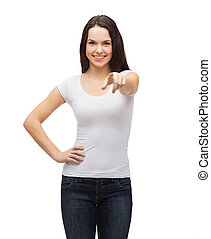 teenager in blank white t-shirt pointing at you - gestures,...