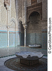 Misbahiya medersa in Fez - Misbahiya medersa main court at...