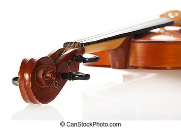 Violin close up, isolated on white background