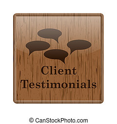 Client testimonials icon - Shiny icon with brown design on...