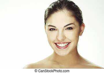 Portrait of beautiful happy young woman - A happy young...