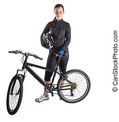 Female With Mountain Bike - Asian Malay female with mountain...