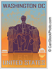 Washington DC vintage poster in orange and blue textured...