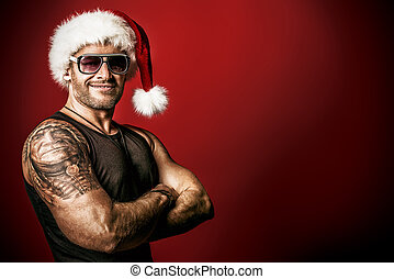 brutal santa - Portrait of a handsome brutal man in...