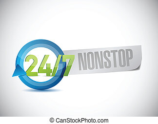 24 7 nonstop sign illustration design over a white...