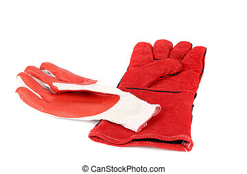 Heavy-duty and rubber red gloves Isolated on a white...