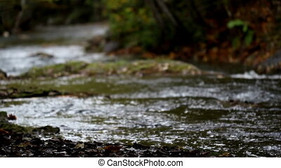 Water stream flowing white water - Water stream flowing over...