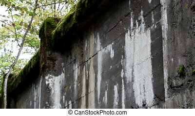 Tall stone bridge covered with moss and some white paint on...