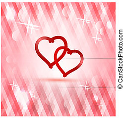 Polygonal pink background with heart - greeting card for Valentine's Day