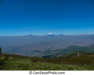 View above Quito - Panorama overlooking Quito, capital of...