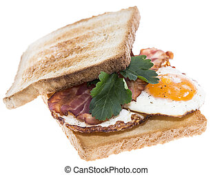 Fried Egg Sandwich with Bacon on white - Fried Egg Sandwich...