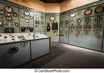 electric controller room in an old metallurgical factory -...