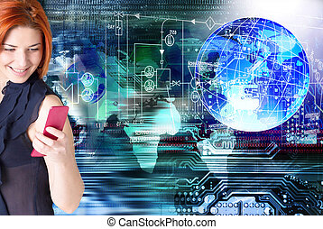 Internet Connect technologies - Happy red-haired girl with a...