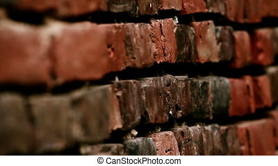 Side way image of the Old red brick wall