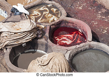 Tannery in Fez with colors