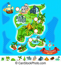 Pirate Treasure Map - Various Exotic Location from Pirate...