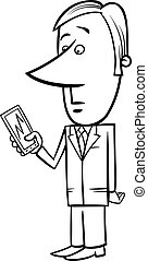 businessman and graph on tablet pc - Black and White Concept...