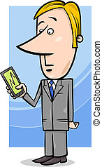 businessman and graph on tablet pc - Concept Cartoon...