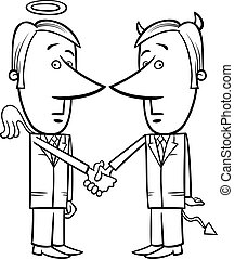 angel and devil businessmen cartoon - Black and White...