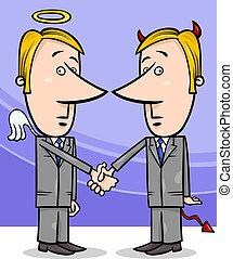 angel and devil businessmen cartoon - Concept Cartoon...