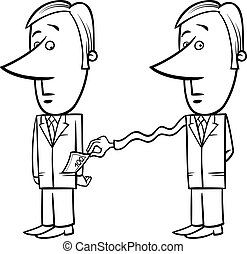 businessman and taxes cartoon - Black and White Concept...