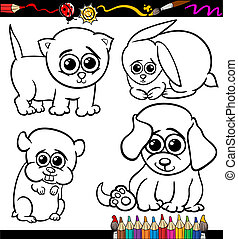 baby pets cartoon set coloring page
