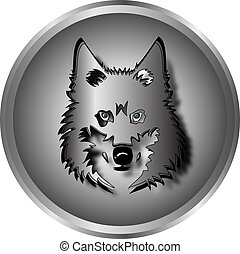 Wolf mask with green eyes on a gray background