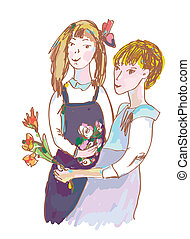 Girls with flowers cute sketch illustration