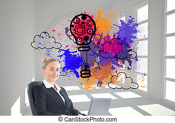 Composite image of attractive blonde businesswoman sitting...