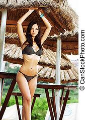 Beautiful model wearing sexy bikini