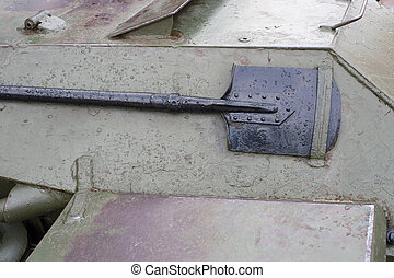 Metal Army shovel attached to tank. war military. green...